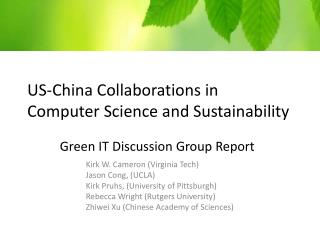 US-China Collaborations in Computer Science and Sustainability