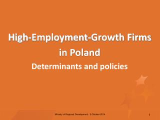 High-Employment-Growth Firms  in Poland  Determinants and policies