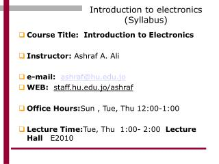 Introduction to electronics (Syllabus)