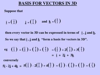 BASIS FOR VECTORS IN 3D