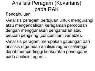 Analisis Peragam (Kovarians) pada RAK