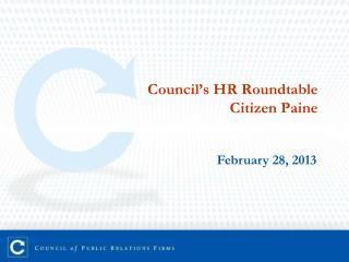 Council ' s HR Roundtable Citizen Paine