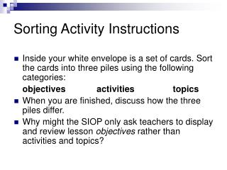 Sorting Activity Instructions
