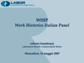 WHIP Work Histories Italian Panel