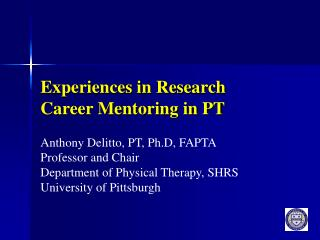 Experiences in Research Career Mentoring in PT