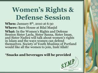 Women's Rights & Defense Session