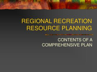 REGIONAL RECREATION RESOURCE PLANNING