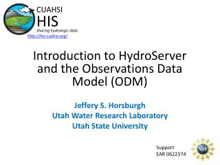 Introduction to  HydroServer  and the Observations Data Model (ODM)