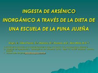 INGESTA DE ARSÉNICO  INORGÁNICO A TRAVÉS DE LA DIETA DE UNA ESCUELA DE LA PUNA JUJEÑA