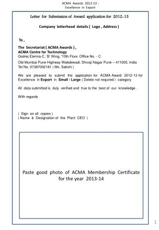 Letter  for  Submission of  Award  application for  2012-13