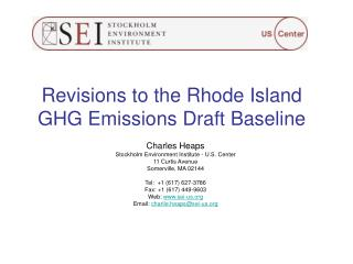 Revisions to the Rhode Island GHG Emissions Draft Baseline