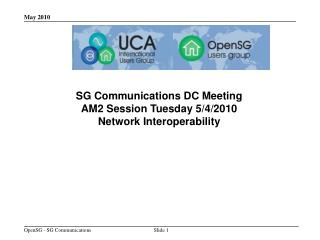 SG Communications  DC Meeting AM2 Session Tuesday 5/4/2010 Network Interoperability