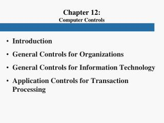 Chapter 12: Computer Controls