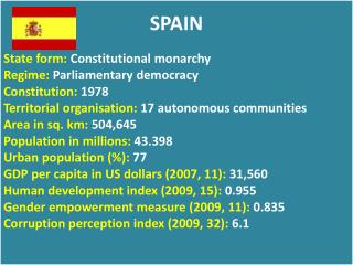 SPAIN State form:  Constitutional monarchy Regime:  Parliamentary democracy Constitution:  1978