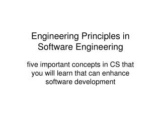 Engineering Principles in Software Engineering