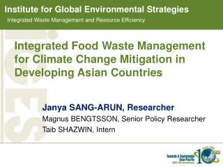 Integrated Food Waste Management for Climate Change Mitigation in Developing Asian Countries