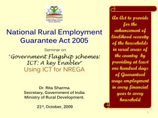 NREGA:  Objectives