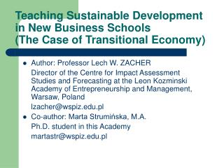Teaching Sustainable Development in New Business Schools (The Case of Transitional Economy)