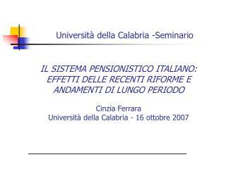 Universit� della Calabria -Seminario