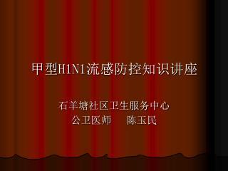甲型 H1N1 流感防控知识讲座 石羊塘社区卫生服务中心 公卫医师   陈玉民