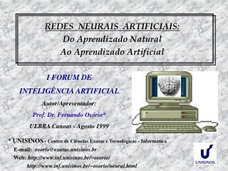 REDES  NEURAIS  ARTIFICIAIS: Do Aprendizado Natural  Ao Aprendizado Artificial