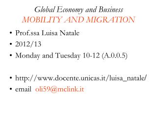 Global Economy and Business MOBILITY AND MIGRATION