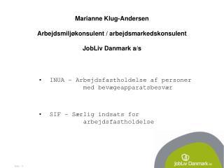 Marianne Klug-Andersen Arbejdsmiljøkonsulent / arbejdsmarkedskonsulent JobLiv Danmark a/s