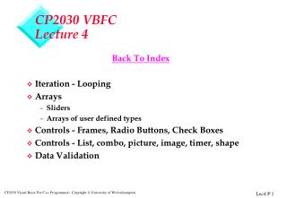 CP2030 VBFC Lecture 4
