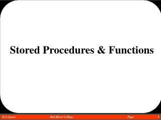 Stored Procedures & Functions