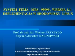 SYSTEM  FEMA - MES - 99999 , WERSJA 1.1.  IMPLEMENTACJA W ŚRODOWISKU  LINUX