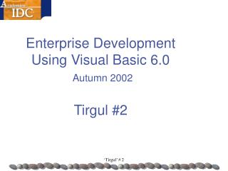 Enterprise Development  Using Visual Basic 6.0   Autumn 2002 Tirgul #2