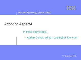Adopting AspectJ