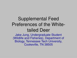 Supplemental Feed Preferences of the White-tailed Deer