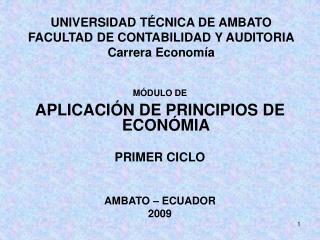 UNIVERSIDAD T CNICA DE AMBATO FACULTAD DE CONTABILIDAD Y AUDITORIA Carrera Econom a