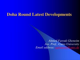 Doha Round Latest Developments