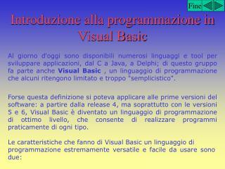 Introduzione alla programmazione in Visual Basic