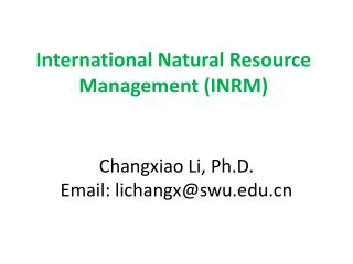 International Natural Resource Management (INRM)