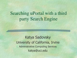 Searching uPortal with a third party Search Engine
