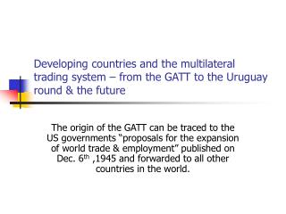 The multilateral trading system a development perspective