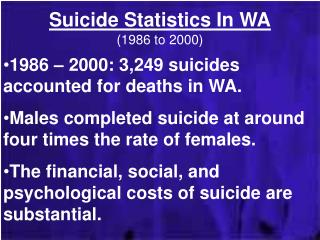 Suicide Statistics In WA (1986 to 2000)