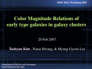 Color Magnitude Relations of  early type galaxies in galaxy clusters