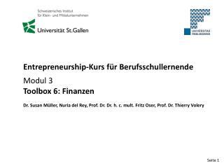 Entrepreneurship-Kurs für Berufsschullernende Modul 3 Toolbox 6: Finanzen