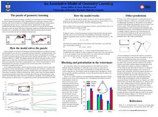 An Associative Model of Geometry Learning Noam Miller & Sara Shettleworth