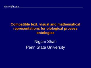 Compatible text, visual and mathematical representations for biological process ontologies