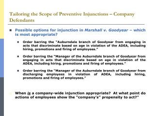 Tailoring the Scope of Preventive Injunctions – Company Defendants