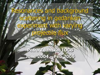 Resonances and background scattering in gedanken experiment with varying projectile flux