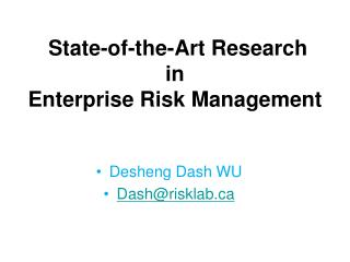 State-of-the-Art Research  in  Enterprise Risk Management