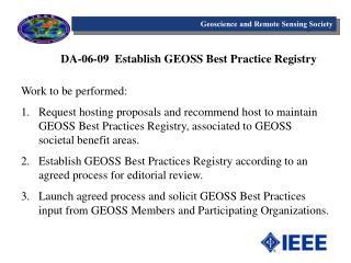 DA-06-09  Establish GEOSS Best Practice Registry