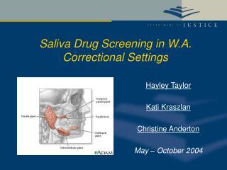 Saliva Drug Screening in W.A. Correctional Settings