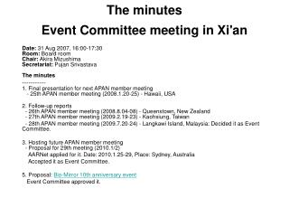 The minutes Event Committee meeting in Xi'an